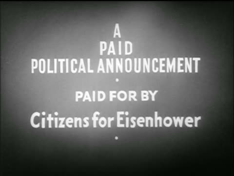 slate text a paid political announcement / tv commercial - anno 1952 video stock e b–roll