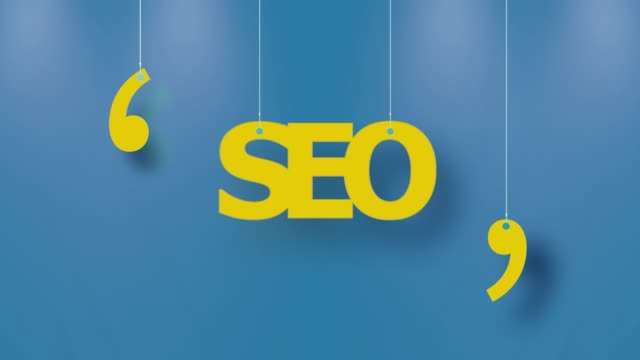 seo text in gelb gehängt mit strings auf blauem hintergrund in 4k-auflösung - alphabet stock-videos und b-roll-filmmaterial
