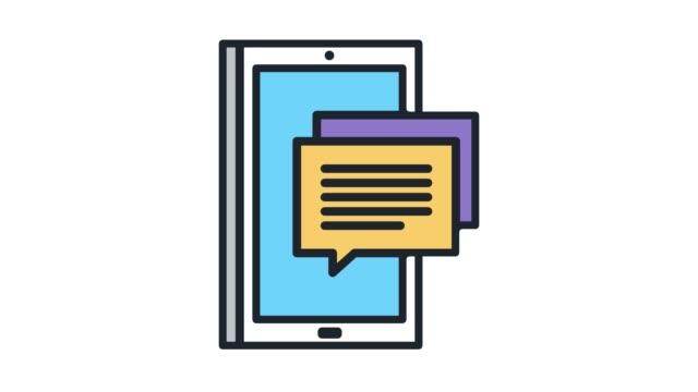 stockvideo's en b-roll-footage met text messaging app lijn pictogram animatie met alpha - stem