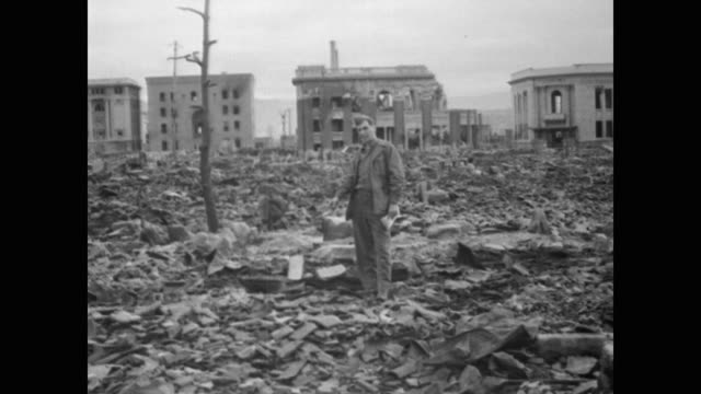vídeos de stock, filmes e b-roll de shortly after the war an american mission was sent to japan to report on the destruction wrought by the atomic bombs the mission organized by the... - 1945