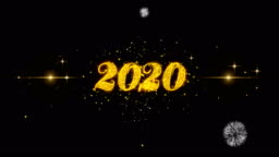 2020_1 Text Particals Golden Text Blinking Particles with Golden Fireworks Display