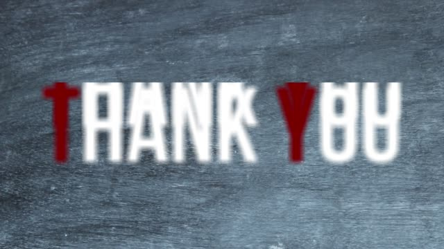 text 'thank you' over blackboard - thank you phrase stock videos and b-roll footage