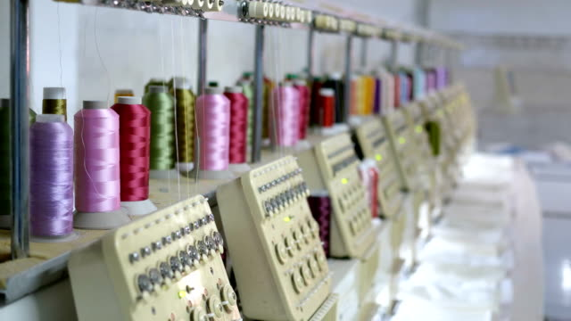 textile factory industrial embroidery machine - thread sewing item stock videos & royalty-free footage