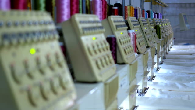 textile factory industrial embroidery machine - needle plant part stock videos & royalty-free footage