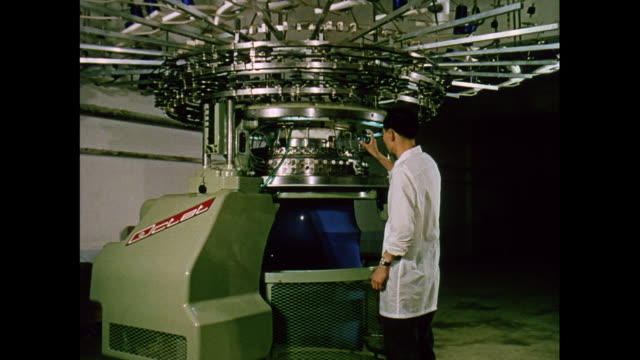 montage textile machine operation and inspection in a factory in korea - korea stock-videos und b-roll-filmmaterial