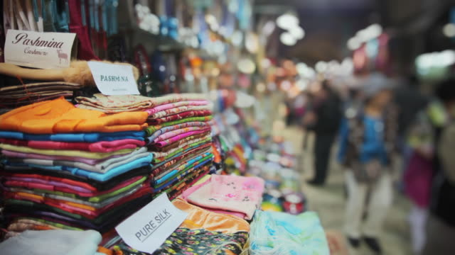cu textiles for sale in grand bazaar, istanbul, turkey - middle east stock videos & royalty-free footage