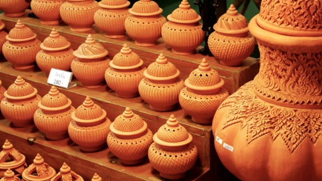 thai ancient incense pot. - souvenir stock videos and b-roll footage