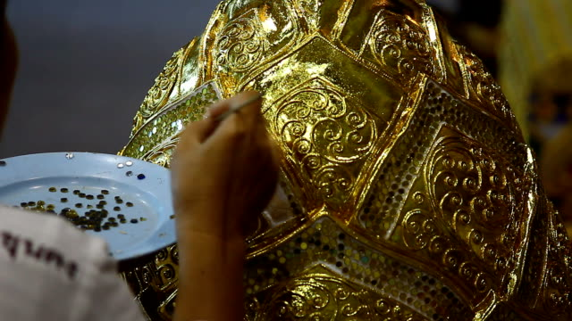 thai art, hand paint gold color to box - crockery stock videos & royalty-free footage