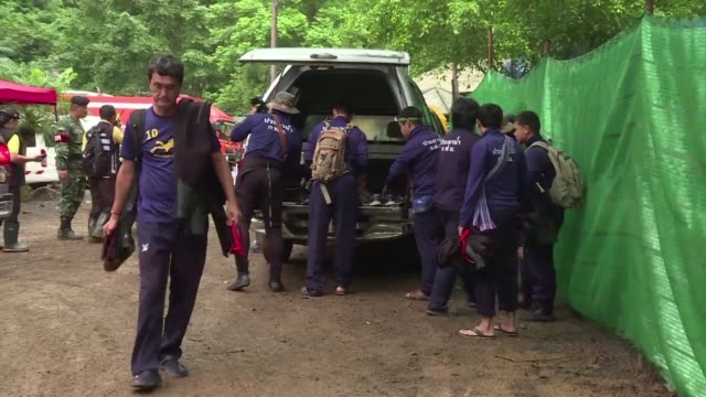 thai authorities tell media to leave a campsite near the cave where 12 boys and their coach have been trapped for more than two weeks as the head of... - thailand stock videos & royalty-free footage