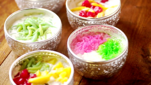 thai coconut milk dessert. - thailand stock videos & royalty-free footage