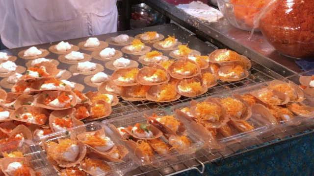 thai crispy pancake  with full stuffed , bangkok , thailand - reality tv stock videos and b-roll footage