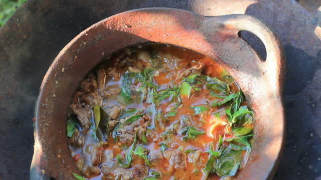 thai food cooking in a local style - chilli con carne video stock e b–roll
