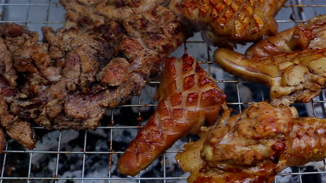 Thai Food Grilled pork on the stove