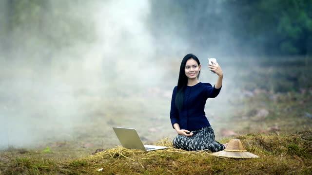 thai girl selfie - paddy field stock videos & royalty-free footage