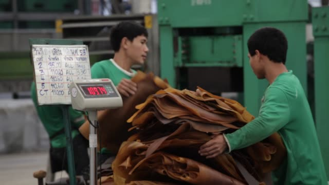 vídeos de stock, filmes e b-roll de thai hua employees trim smoked rubber sheets and make ballots of them at the thai hua rubber pcl factory in samnuktong, rayong province, thailand, on... - látex borracha