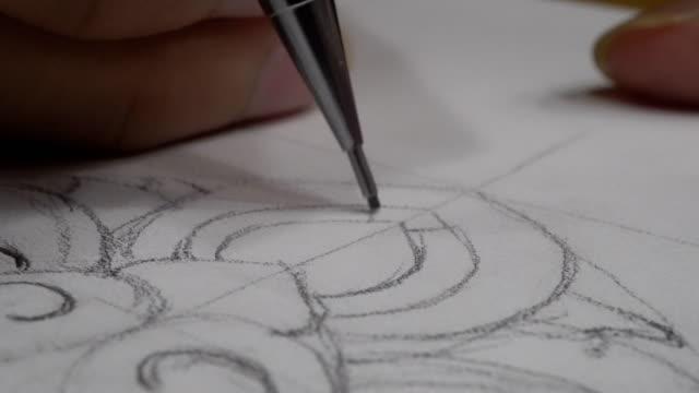 thai line (drawing, sketching thai culture art line) - symbol stock videos & royalty-free footage