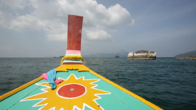 WS POV Thai Longtail boat through Thai islands