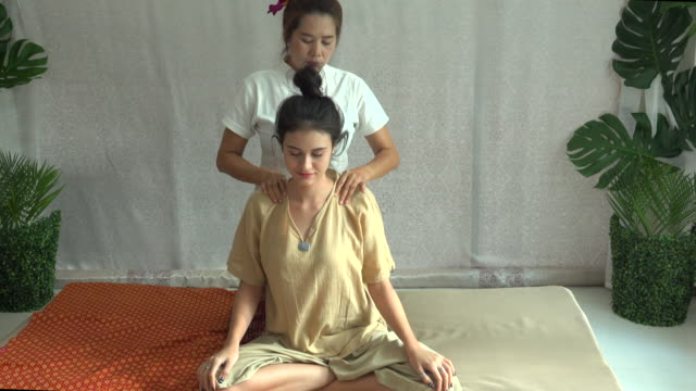 thai massage in spa - shoulder stock videos and b-roll footage
