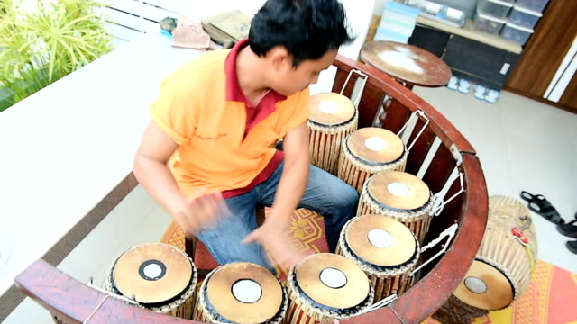 Thai Musician playing of puang-mang