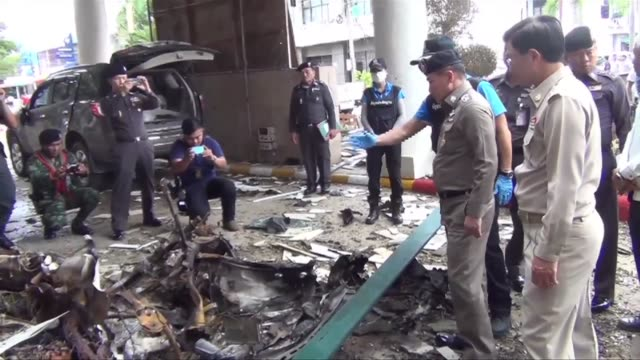 thai police chief visits car bomb site in thailand's deep south killing one and wounding more than 30 in a nation already on edge after a bombing... - police chief stock videos and b-roll footage