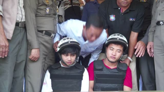 thai police friday charge two myanmar men with murder and rape after the killing of two british tourists on a southern island last month in a case... - dented stock videos & royalty-free footage