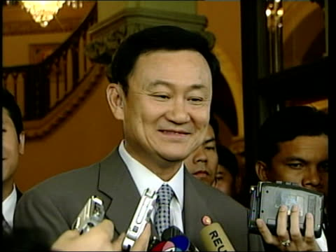 Thai Prime Minister investment in Liverpool ITN Bangkok Thaksin Shinawatra speaking to press SOT Talks of his favourite Liverpool players