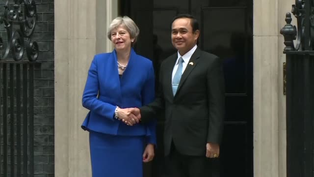 thai prime minister prayut chan o cha meets british prime minister theresa may in london - prime minister video stock e b–roll