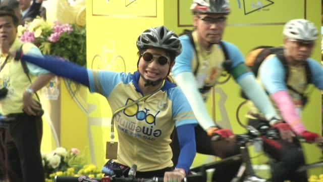 thai princesses bajrakitiyabha and sirivannavari nariratana take part in the 'bike for dad' event in bangkok / thai crown prince maha vajiralongkorn... - crown prince stock videos & royalty-free footage