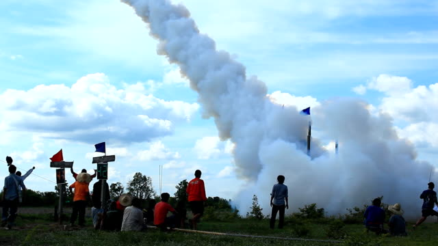 thai rocket launch horizontal distance - thai culture stock videos & royalty-free footage