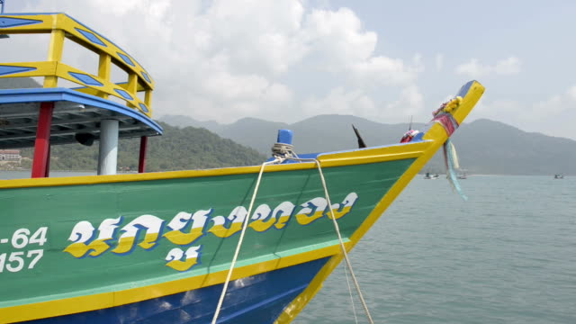 thai script on tourboat - trat province stock videos and b-roll footage