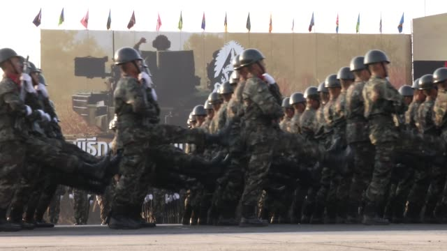 thai soldiers parade during celebrations of the royal thai armed forces day at a military base in bangkok thailand jan 18 2015 army commander udomdej... - bangkok stock-videos und b-roll-filmmaterial