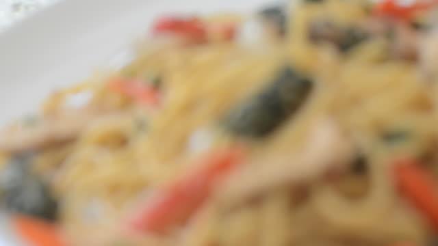 Thai spaghetti spicy seafood