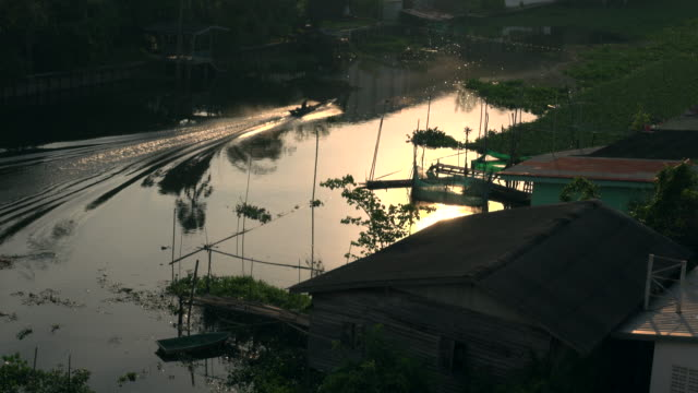 thai taxi boat in canal - water taxi stock videos & royalty-free footage