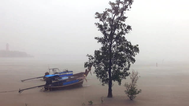 thai taxi longtail boats in rain - andaman sea stock videos & royalty-free footage