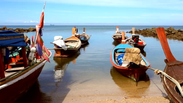 thai taxi longtail boats, ko lanta, thailand - ko lanta stock videos & royalty-free footage