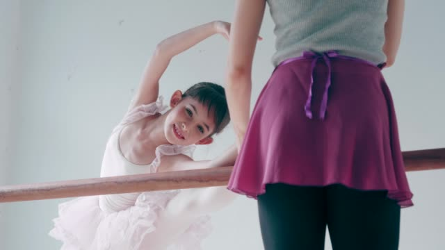 thai teacher and her cute ballerina girl with ballet dancing class - tutu stock videos & royalty-free footage