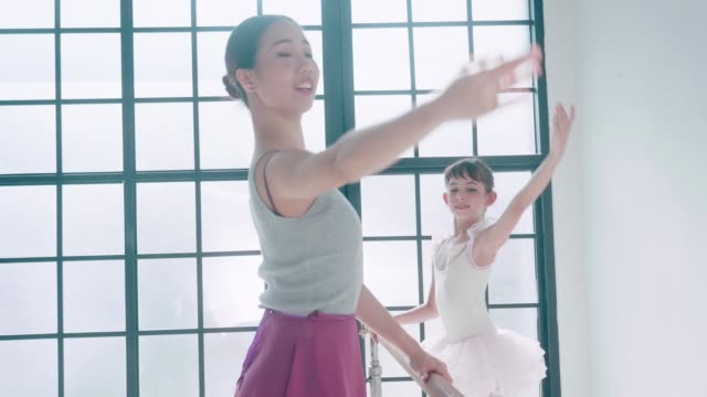 thai teacher and her cute ballerina girl with ballet dancing class - leotard stock videos & royalty-free footage