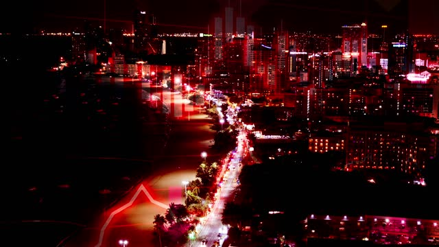 thailand beach night skyline scene with negative chart and graph data. concept piece to indicate declining tourism, gdp, stock market crash, recession, depression, inflation, deflation, bear market, poor economic and business performance - ease stock videos & royalty-free footage