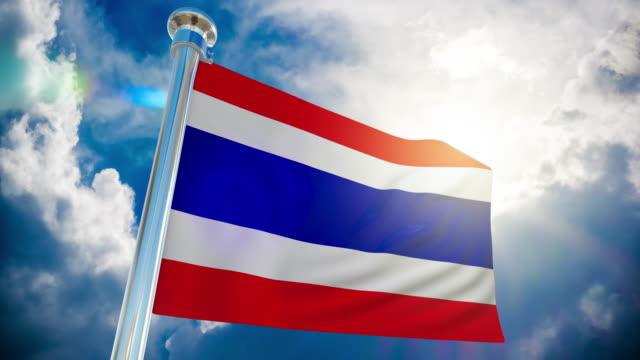 stockvideo's en b-roll-footage met 4k thailand flag-loop bare stockvideo - paalzitten