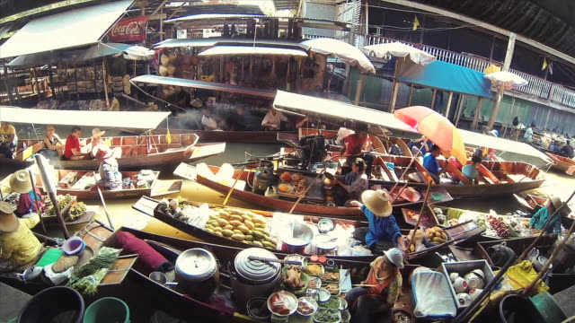 thailand flower market - longboats and vendors - floating on water stock videos & royalty-free footage