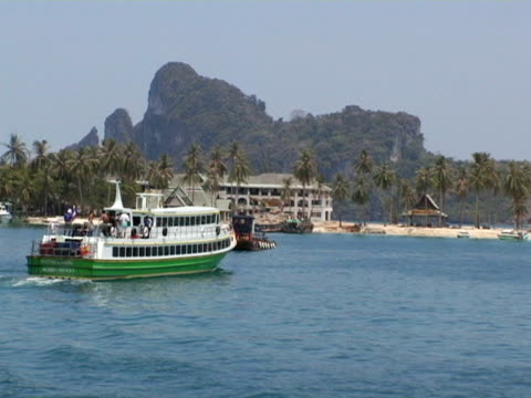 stockvideo's en b-roll-footage met ms, thailand, ko phi phi, ferry boat mowing towards beach - waaierpalm