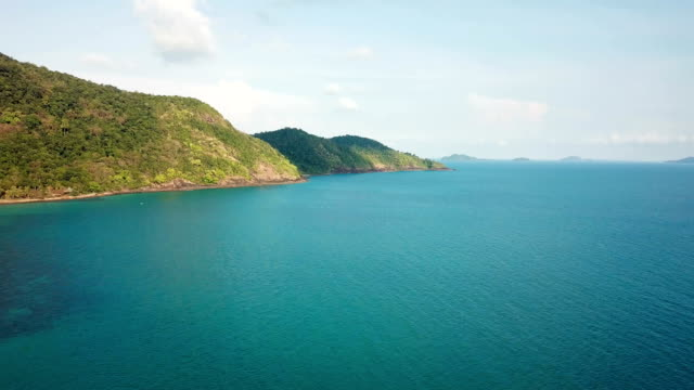 thailand, koh chang island, aerial view of beautiful beach - koh chang stock videos and b-roll footage