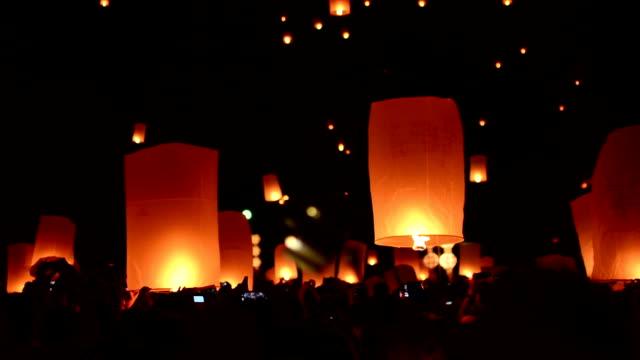 thailand lantern  festival. - sky lantern stock videos and b-roll footage