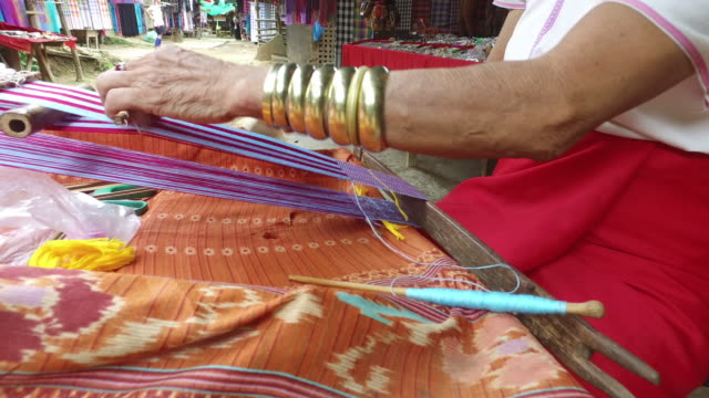 thailand local people weaving silk fabric cloth - woven stock videos & royalty-free footage