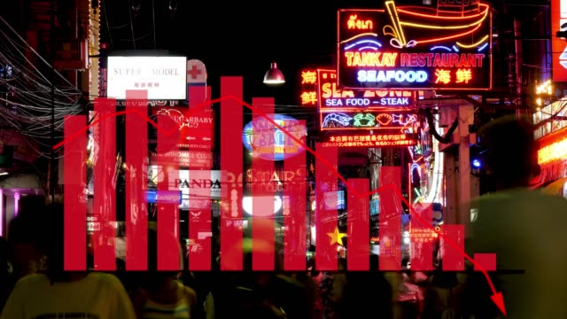 thailand pattaya walking street scene with data graph showing negative crash in tourism, finance, economic impact caused by the recent covid-19 coronavirus crisis - moving down stock videos & royalty-free footage