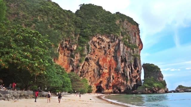 thailand pranang sea, krabi,thailand - railay beach stock videos and b-roll footage