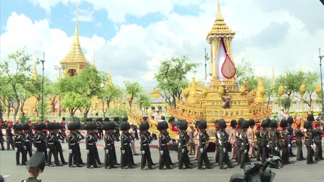 thailand rehearses for the cremation ceremony of king bhumibol adulyadej as the grieving nation prepares to bid a final farewell to the beloved late... - king of thailand stock videos and b-roll footage