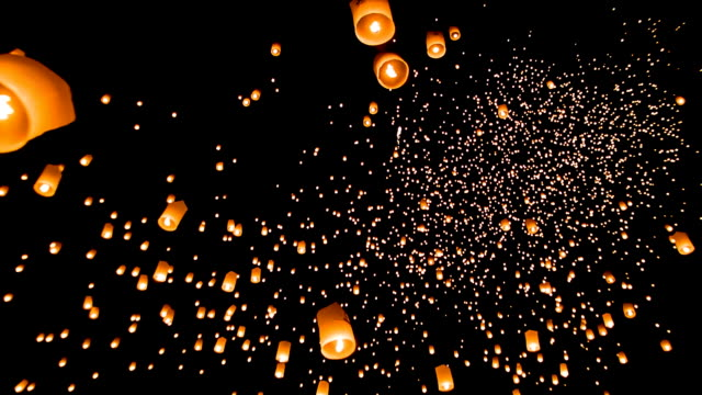 thailand sky lantern traditional festival. - candle stock videos and b-roll footage
