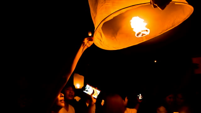 thailand sky lantern traditional festival. - sky lantern stock videos & royalty-free footage