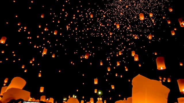 thailand sky lantern traditional festival. - november stock videos & royalty-free footage